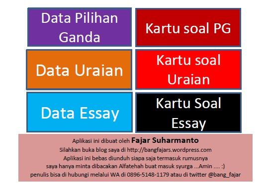 Aplikasi Excel Lengkap Kisi Dan Kartu Soal Pg Uraian Essay